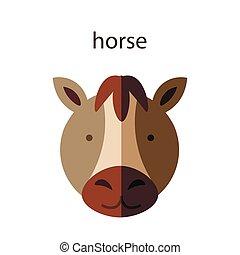 Line Animal Head Icon Set. Vector Illustration.Horse