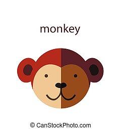 Line Animal Head Icon Set. Vector Illustration.Monkey