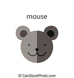 Line Animal Head Icon Set. Vector Illustration.Mouse