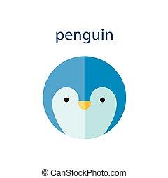 Line Animal Head Icon Set. Vector Illustration.Penguin