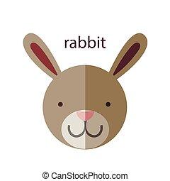 Line Animal Head Icon Set. Vector Illustration.Rabbit