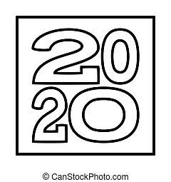 Line art 2020 new year various width characters