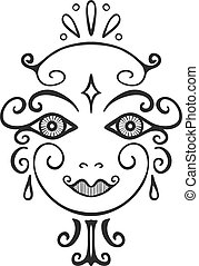 Line art abstract woman face