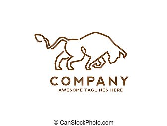line art aggressive strong wild bull logo