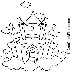 Line Art Illustration of a Castle in the Sky