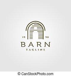 line art barn logo vector illustration design