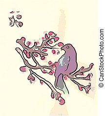 Line art bird