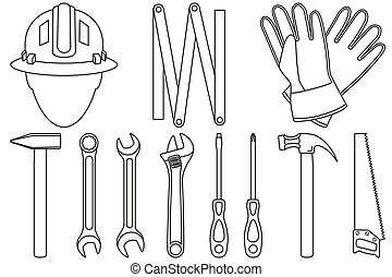 Line art black and white 11 handyman tools set