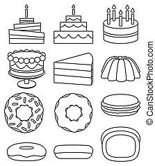 Line art black and white 12 dessert icon set