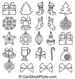 Line art black and white 25 christmas elements set