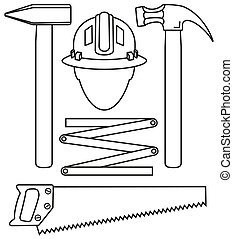 Line art black and white 5 handyman tools set