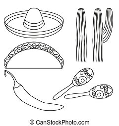 Line art black and white 5 mexican elements.