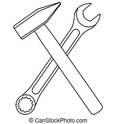 Line art black and white crossed hammer and wrench. Handyman...