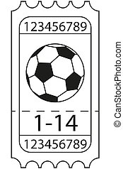 Line art black and white football soccer ticket icon.