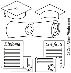 Line art black and white graduation set 5 elements