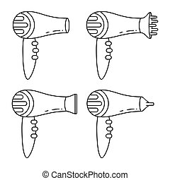 Line art black and white hairdryer set