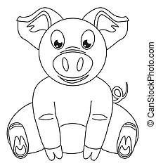 Line art black and white happy sitting pig. Coloring page...
