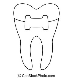 Line art black and white healthy tooth in brace. Coloring...