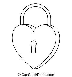 Line art black and white heart padlock