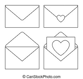 Line art black and white love letters set