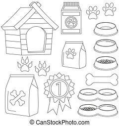 Line art black and white pet care 13 icon set