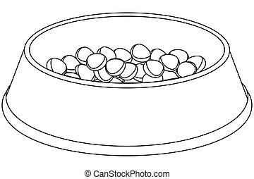 Line art black and white pet food bowl.