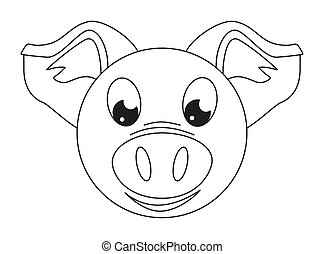 Line art black and white pig face Coloring page for adults...