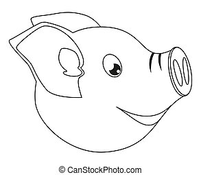 Line art black and white pig face side view. 2019 year...