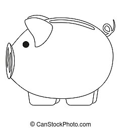 Line art black and white pink piggy bank. 2019 year chinese...