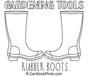 Line art black and white rubber boots.