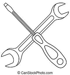 Line art black and white screwdriver wrench cross. Handyman...