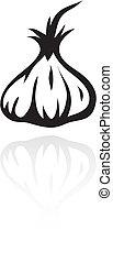 line art black garlic isolated on white