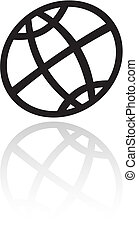Line art black globe