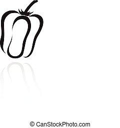 line art black pepper isolated on white