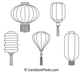 Line art black white chinese lantern collection