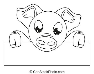 Line art black white pig with horizontal poster - Line art...
