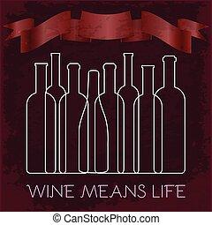 Line Art Bottles of Wine