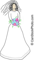 Line Art Bride with Coloured Flowers and Face