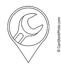 Line art car repair service location marker