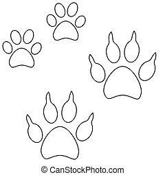 Line art cat dog paw footprint icon set poster.