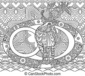 Line art Christmas card. Coloring book for adults