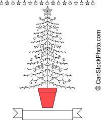 Line art Christmas tree design