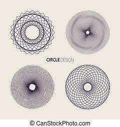 Line art circle set with sacred geometry design