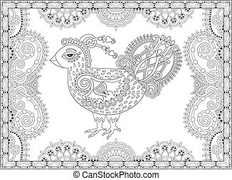 line art cock drawing for coloring book page joy to older...