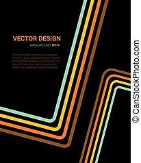 Line art color on black, template design