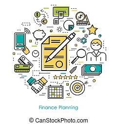 Line Art concept - Finance Planning