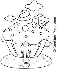 Line Art Cupcake House
