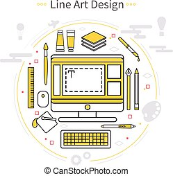 Line Art Design Composition