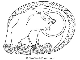 Line art design for coloring book for adult. Bear in the forest on the rocks