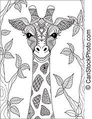 giraffe - Line art design of abstract giraffe for adult ...